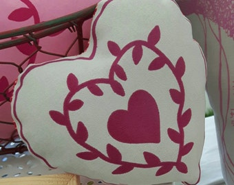 Small screen printed decorative heart cushion