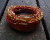 Fiber Wire Core Handspun Art Yarn 24 gauge wire Red Riding Hoods Wolf- Autumn in NY