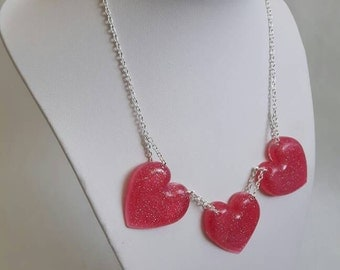 Pink heart necklace - pink resin necklace, love necklace, heart pendants, love hearts, pink jewellery, glittery hearts, gift for her