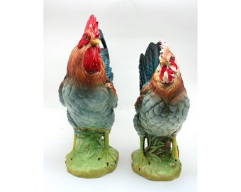 Vintage Norcrest hen and rooster, shabby chic chickens, farmhouse kitchen decor, painted ceramic figurines, green, blue, red, brown, Japan