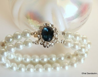 Wedding Bracelet Bridal White Pearl Rhinestone Something Blue Sapphire Stone Multi Row Double Pearl Crystal Bracelet Vintage Jewelry Lady D
