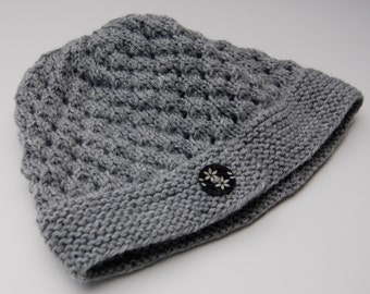 Knit gray hat, light gray hat, knit hat with button, acrylic hat, light gray beanie, acrylic beanie, knit hat gray acrylic, knit beanie gray