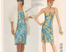1986 - McCalls 2589 Vintage Sewing Pattern Size 6 Bust 30 1/2 Jacket Dress Loose Unlined Sleeve Strapless Sweetheart Neck Princess Seams