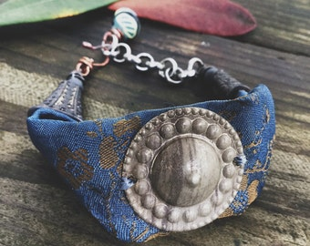 Boho silk bracelet with turkoman button, tribal bead | textile jewelry, salvaged textile, blue silk, adjustable bracelet