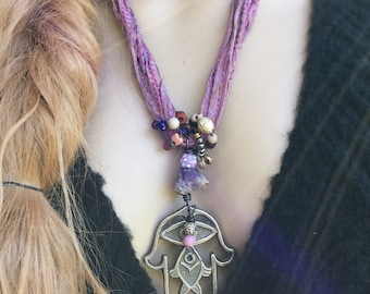 Boho Hamsa necklace | Raw silk, large Hamsa, raw amethyst, amulet necklace, statement necklace, rustic bohemian