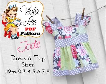 Jodie... Girls Dresses, Toddler Dress pdf Pattern, Girl's Sewing Pattern pdf. Girl's Dress Pattern. Girl's Top Pattern, pdf Sewing Pattern.