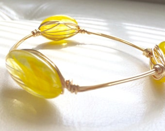 Yellow Wire-Wrapped Bangle---MEDIUM