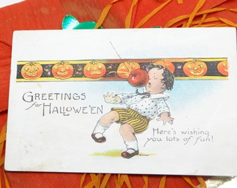 Antique Halloween Post Card, with Boy and Jack-o-lanterns, Greetings for Halloween
