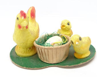 Vintage 1950's Hen and Chicks Candy Container for Easter