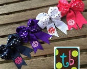 SALE!!! Personalized Monogram Preppy Hairbow Hair Bow Polka Dot Monogrammed Hairbow