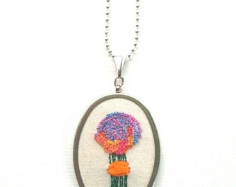 Hand embroidered OOAK french knot bouquet pendant with chain
