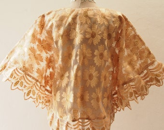 Autumn Poncho, Ponchos, Brown-Gold Lace Poncho, Tribal, Wrap, Aztec, Women Butterfly Blouse, Boho Poncho Bohemian Blouse