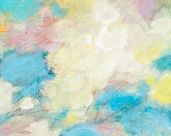 """Original Cloud Painting, Small Abstract Art, Colorful, Summer """"Summer Highlights"""" 6x6"""