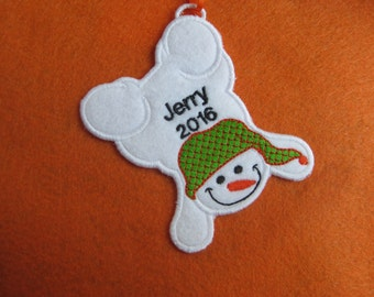 Personalized Snowman 4 Ornament or Gift Tag