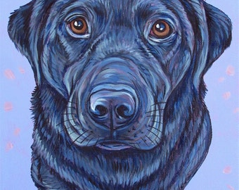 "8"" x 10"" Custom Pet Portrait Painting in Acrylic Paint on Ready to Hang Canvas of One Dog, Cat, or Other Animal Pet Gift or Wall Art. OOAK"
