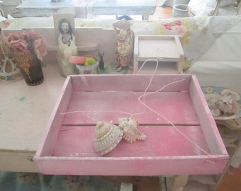Vintage basket holder chippy pink wood with wire handle  shabby chic cottage prairie