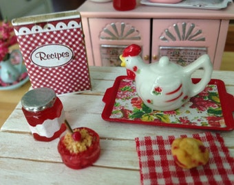 Dollhouse Miniature Shabby Chic Farmhouse Country Set with Cute Collectible Porcelain Teapot, Jar of Cherry Jelly, Cherry Muffin n Cobbler