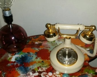 VTGE 60 antique yellow and gold,  western electric rotary phone
