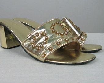 Vintage 1960s Gold Metallic Shoes 60s Shiny Gold Vinyl Mules Size 8M