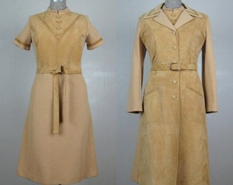 Vintage 1960s Dress and Jacket Set 60s Camel Wool and Suede Mod Shift and Coat Size M