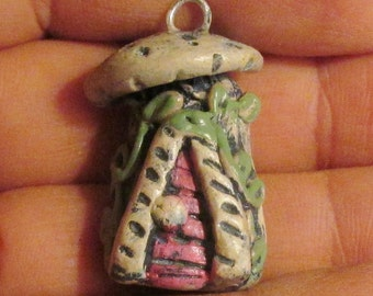 Miniature fairy elf house polymer clay pendant OOAK for necklace or bracelet