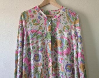 Vanity Fair Patterned Vintage Night Gown Slip Dress