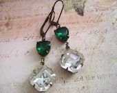 Estate Styled Green and clear long earrings - Sparkling Vintage Glass Jewelled valentines Earrings.