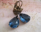 Estate Style Blue Earrings  .Vintage Glass Montana Blue Pear Shaped earrings. gifts for her