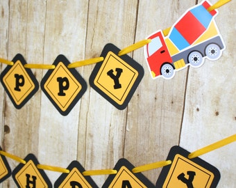 Construction Trucks Banner, Boys Birthday Party Banner, Big Trucks Construction, READY TO SHIP, Construction Truck Birthday Party Decoration