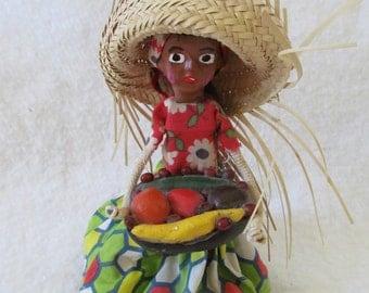 Vintage Folk Art Souvenir Doll Dominican Republic Primitive Handpainted Wood Woman Islander Straw Hat Handmade Dress w/ Fruit