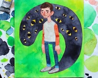 Original 'Worry' Watercolour Illustration