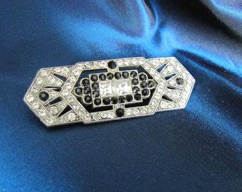 Vintage DecoStyle Rhinstone & Black Pin