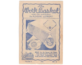 1943 Workbasket Magazine Vol 8 No 12, Chain of Diamonds Quilt Pattern, Mens Knitted Scarf Pattern, Mens Tie Knitting Pattern