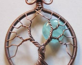 Aquamarine Czech Glass & Antiqued Copper Glowing Blue Moon, Night Glowing Jewelry, Blue Moon