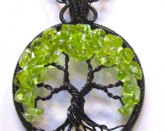 Peridot Wire Wrapped Tree of Life, August Birthstone Tree of Life, Peridot and Black Tree of Life, Peridot Necklace, Peridot