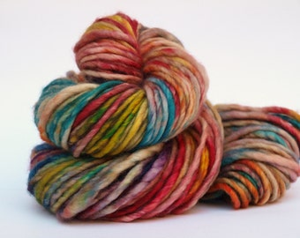 Hand Dyed Bulky Weight Yarn,  Superwash Merino/ Nylon, Single,  All the Crayons in the Box
