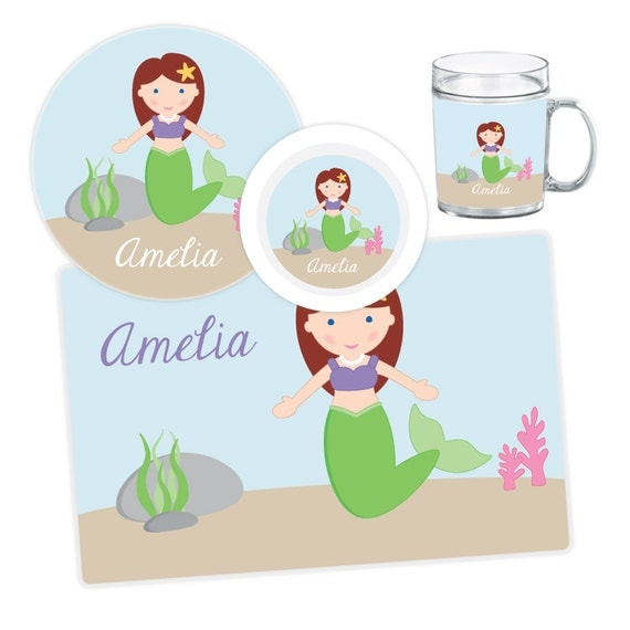 Il_570xn  sc 1 st  Catch My Party & Mermaid Plate Bowl Mug or Placemat - Personalized Dinnerware Set ...