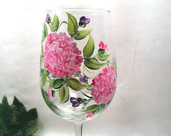 Pink Hydrangeas with lavender hand painted wine glass personalizable for gifts or bridesmaids
