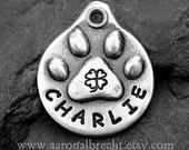 Pet ID Tag - Custom Dog Tag - Pet Tag - Dog ID Tag - Lucky Dog Paw Print ID Tag