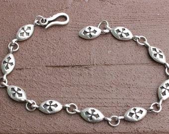 Vintage Sterling Silver Celtic Cross Panel Bracelet