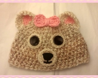 Bear Girl Baby Girl Hat, Baby Shower Gift Baby, Toddler, Kids Size, Handmade Crochet Made to Order