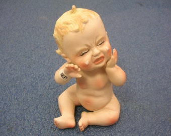 Vintage Small Ceramic 1956 James Crying Baby Figurine