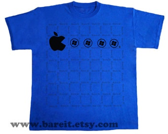 Apple With A Slice Missing Eating Window Pellets Inspired by Video Game Apple Geek Humor Tshirt Size Small Medium Large XLarge Color Blue