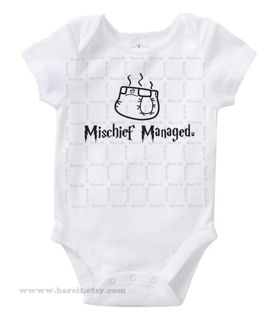 Mischief Managed Inspired By Harry Potter Cute Baby Humor FunnyOnesie/Creeper/Bodysuit Size 3, 6, 12, 18, 24 Months Color White