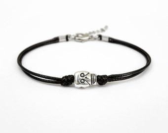 Silver Skull Bracelet, Black Cord Bracelet, Friendship Bracelet, 25 Colors Available