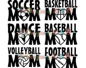 Sports Mom Single Color Car Decal - Soccer Dance Football Baseball