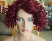"""SPRING SALE - Lace Front Culy Wig - Siren Red with Dark Back - Lace Front & Capless Wig - """"Rita"""" - Natural Beauty - Human Hair Blend"""