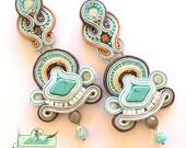 Turquoise Soutache Earrings- Swarovski Crystal Statement Earrings- Dangle Long Earrings- OOAK Earrings- Soutache set