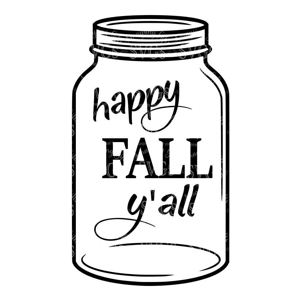 SVG Happy Fall Yall Mason Jar DXF Pallet Sign Design