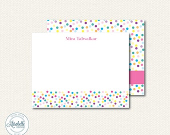 CUSTOMIZED NOTE CARDS - Rainbow Sprinkles Collection - Mirabelle Creations